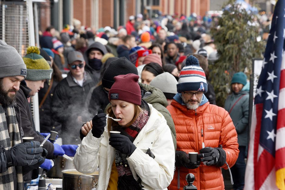 Attendees sample chowder along Broadway during the 21st annual Saratoga Chowderfest last February.