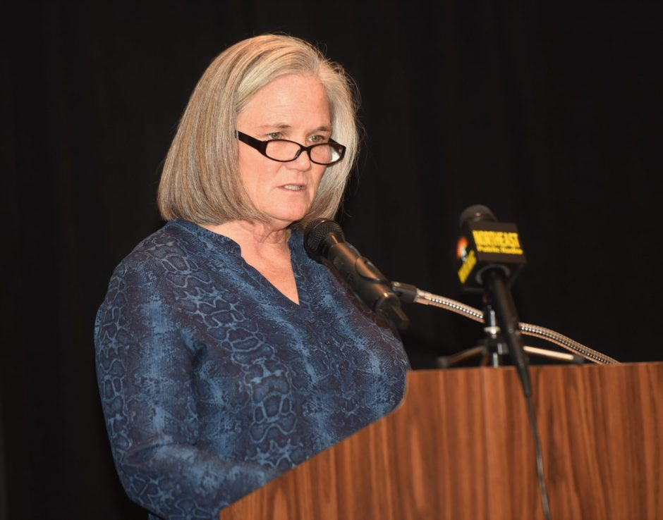 Saratoga Springs Mayor Meg Kelly presents her 2020 State of the City address at the Saratoga Springs City Center Tuesday night.