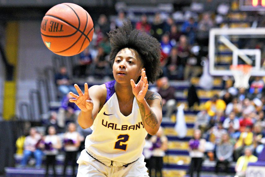 UAlbany's Kyara Frames had 16 points in Wednesday's win over UMBC.