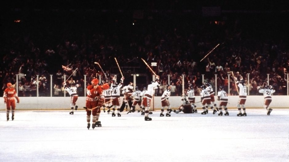 The United States hockey team celebrates after defeating the Soviet Union in the 1980 Winter Olympics in Lake Placid.