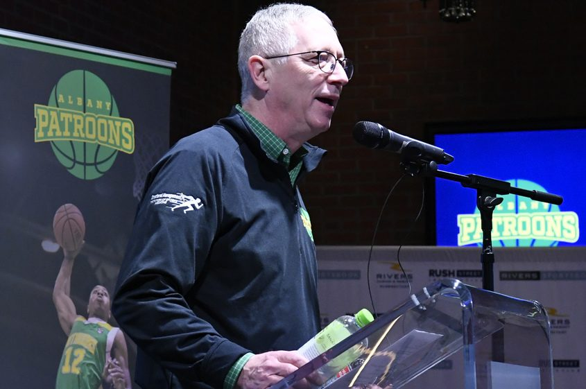 Dr. Tim Maggs, owner of the Albany Patroons basketball team, speaks at a news conference at Rivers Casino & Resort Thursday.