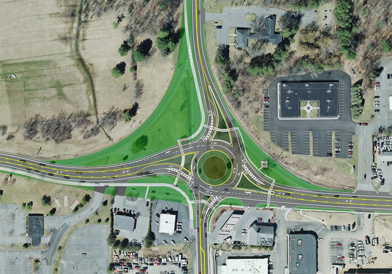 An aerial view of NYSDOT's revised design plan for the roundabout at Vischer Ferry Road and state Route 146.
