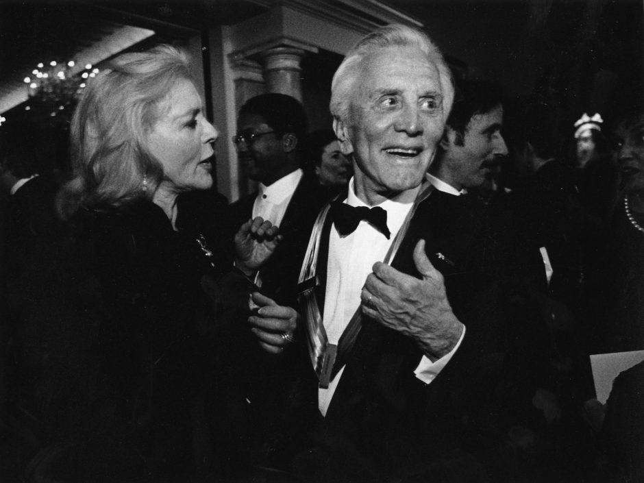 Kirk Douglas is shown with actress Lauren Bacall in an undated photo.