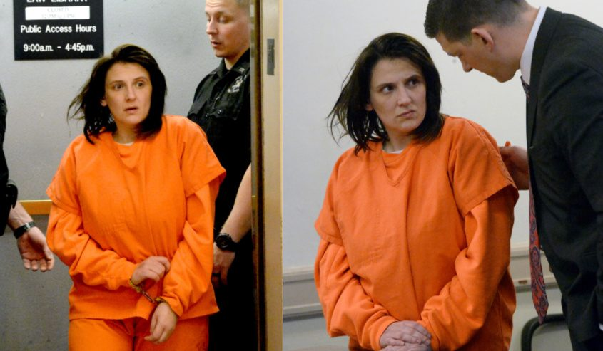 Casey Buckley exiting the courthouse elevator, left, and in court with her attorney Daniel Ciarmiello, right