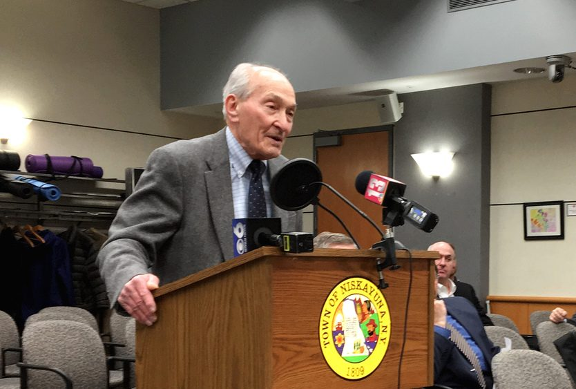 Dr. Michael Lozman, who first proposed a Holocaust memorial for Niskayuna in 2017, thanks the town's Planning Board Monday night