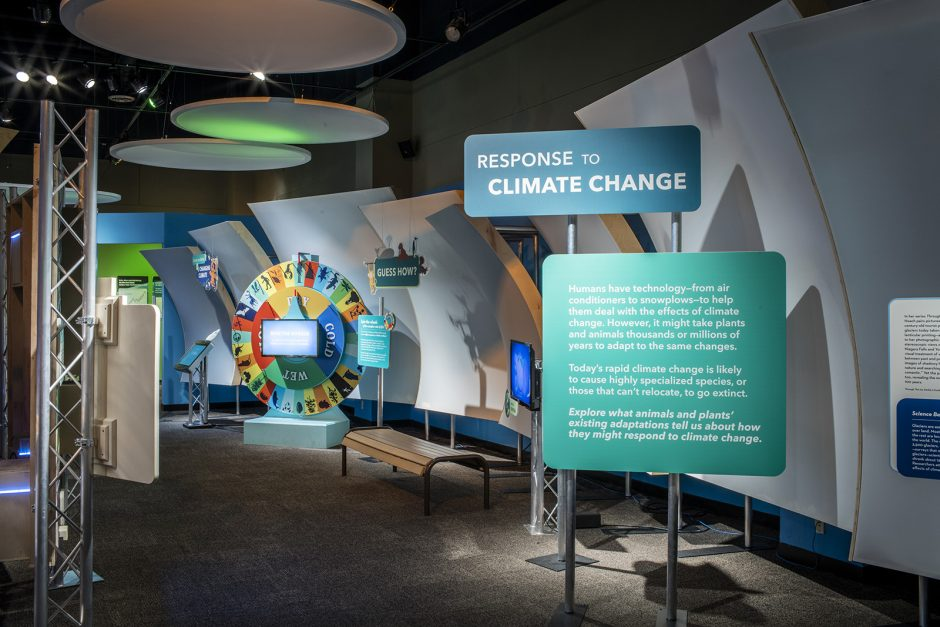 A view of the weather and climate exhibit at miSci in Schenectady.