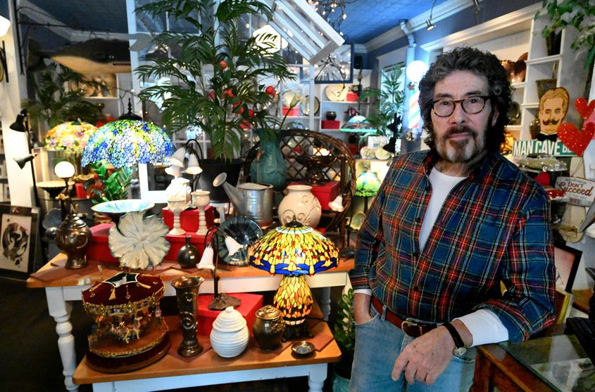 Donald Glennon is shown in Dragonfly Pottery in Schenectady.