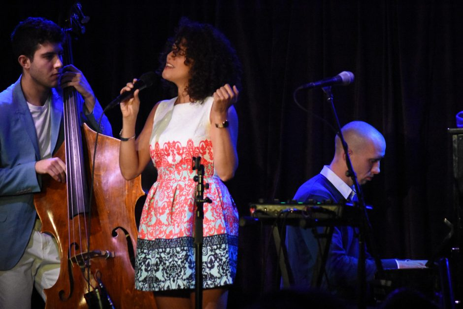 Cyrille Aimee, center, sang at Caffe Lena last Saturday with bassist Lex Warshawsky and pianist Ryan Hanseler.