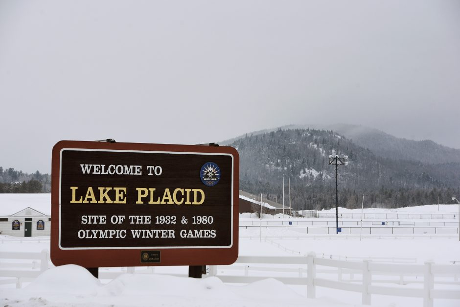 Welcome to Lake Placid sign off Route 73 entering in North Elba on Tuesday, February 11, 2020.