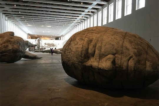 """Some of the oversized objects in Ledelle Moe's exhibit """"When"""" at MASS MoCA."""