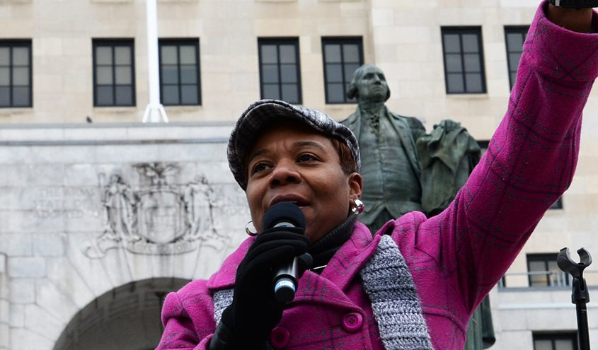 Angelica Morris speaks at the Women's March in Albany in January 2019