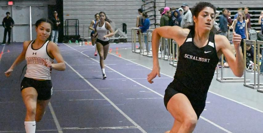 Schalmont's Mia D'Ambrosio, center, leads Mohonasen's Zionna Perez-Tucker, left, and Natalia Sawyer to the finish in the 300.