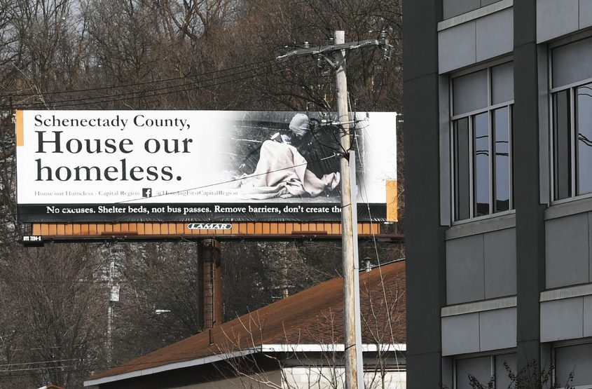 This billboard on Broadway in Schenectady is pictured on Thursday.