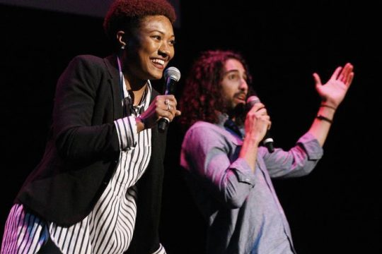 """Damani VanRensalier and Trent Saunders perform a number from """"Hadestown"""" at Proctors on Monday."""