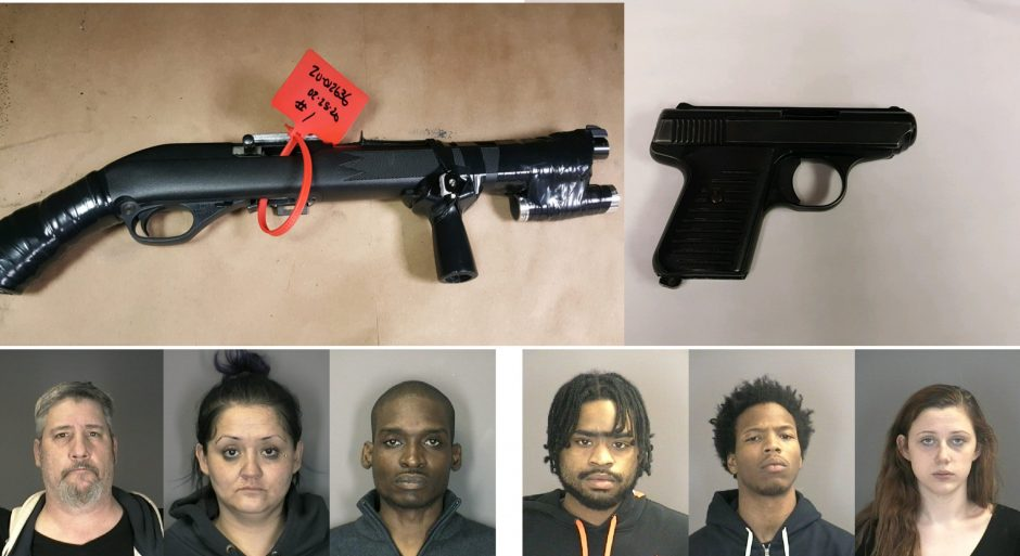 Top: Guns confiscated; Bottom: Breedlove, Plaza, Wallace, Saab, Gary, Mercer