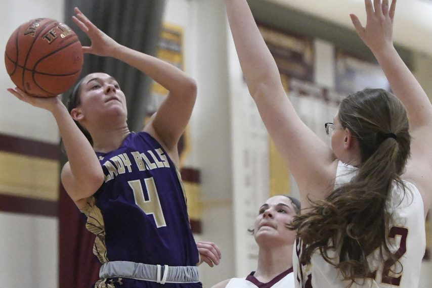 Johnstown's Anna Lee (4) goes up for a shot against Fonda-Fultonville in the Class B quarterfinals on Wednesday.