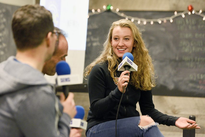 Emma White participates in a forum with fans at Infinity Athletics in Colonie in December.