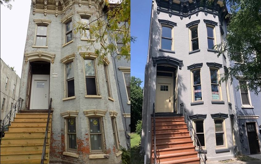An Albany rowhouse sold by the Albany County Land Bank is shown before and after renovation.