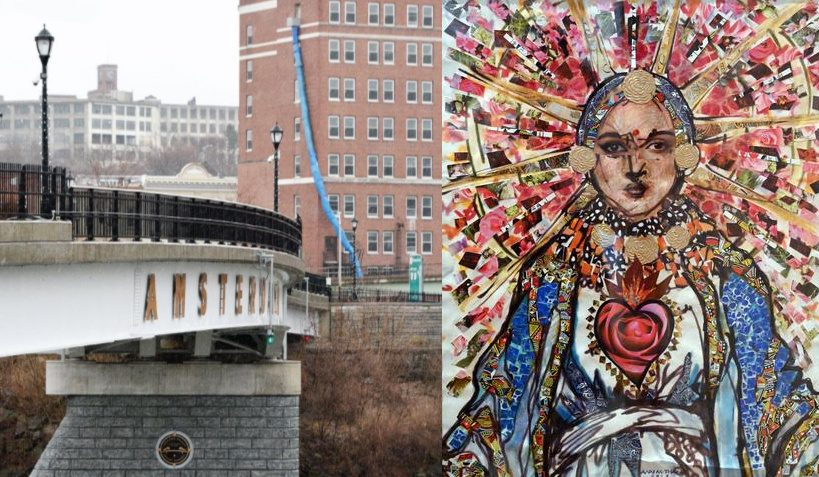 """""""Mother Madonna of Amsterdam NY,"""" a multimedia work by Ann Thane, right; Amsterdam, left."""