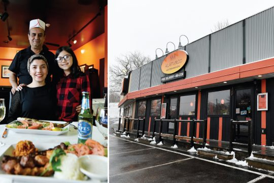 Clockwise: Rauf and Nurgul Ziya with daughter Ikra. Right: Exterior of Alaturco Mediterranean Grill in Ballston Spa.