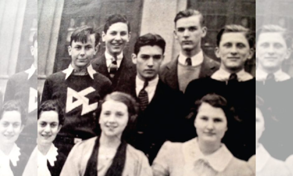 Peter Riccio, center, and his friend Isadore Demsky (right) gather with Amsterdam High School pals during the mid-1930s.