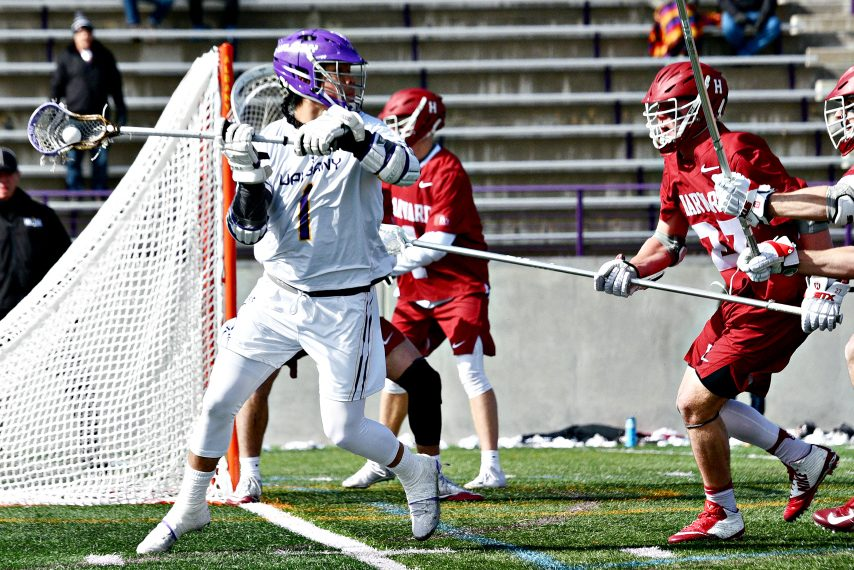 Tehoka Nanticoke, left, matched career-highs with five goals and eight total points in Saturday's win over Harvard.