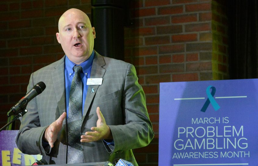 Justin Moore, general manager of Rivers Casino & Resort, talks about problem gambling Tuesday.