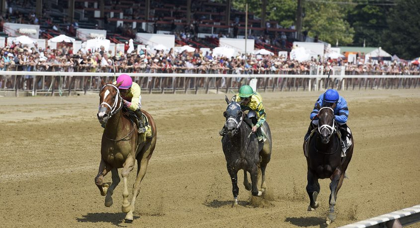 The Jason Service-trained Bonita Bianca wins the Union Avenue Stakes at Saratoga in August 2018