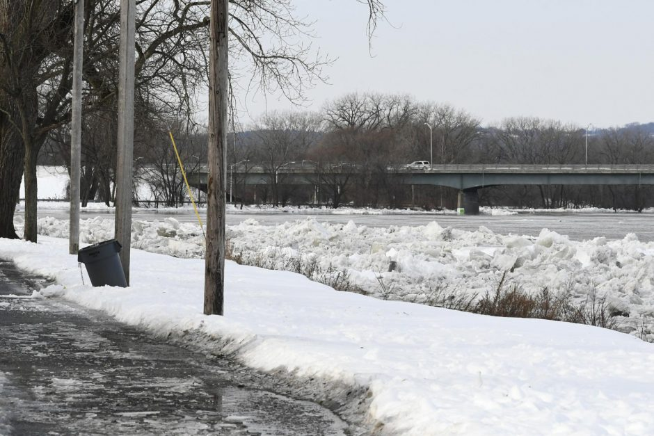 Ice jams begin to stack up on the banks of the Mohawk River at the foot of Ingersoll Avenue in the Stockade, January 25, 2019.