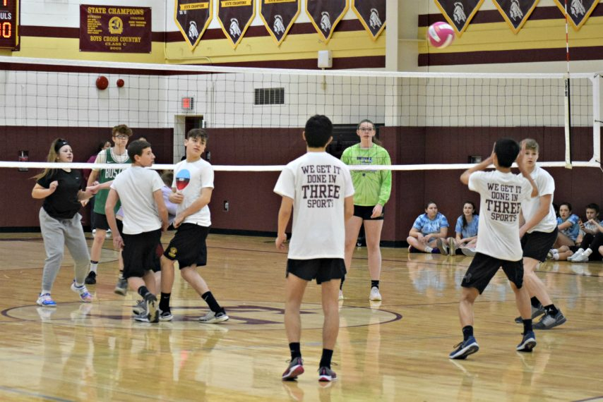 Action during the Fonda-Fultonville Physical Education Volleyball Tournament on Friday.