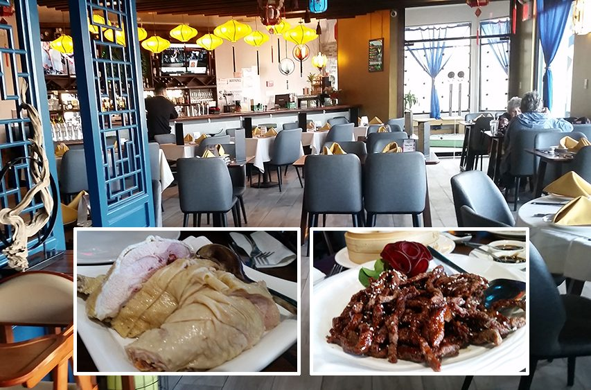 Sparx Fine Chinese Cuisine interior; inset, from left: drunken chicken and crispy sesame shredded beef.