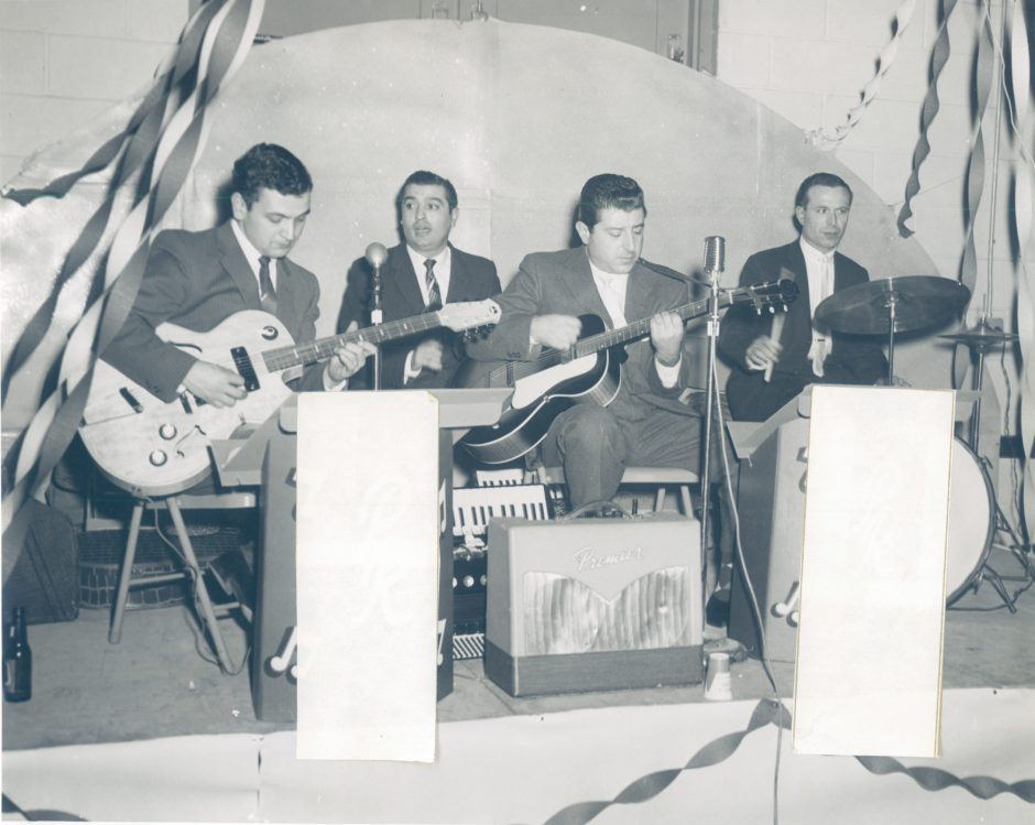 Benny Cannavo, on drums at far right, poses with other members of the Accents during the late 1950s.