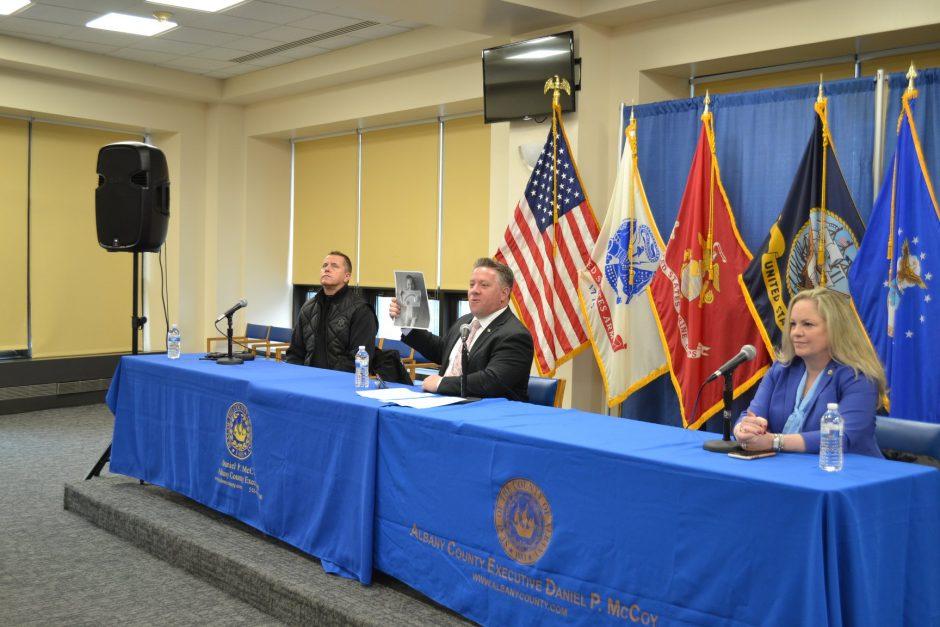 Albany County Executive Daniel McCoy, center, Monday morning