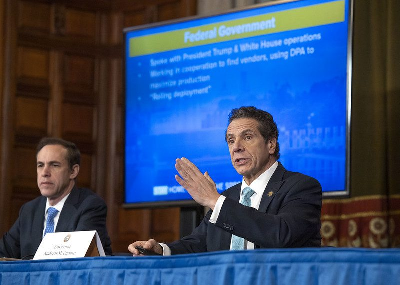 State Health Commissioner Dr. Howard Zucker, left, and Gov. Andrew Cuomo are shown Wednesday during Cuomo's daily briefing.
