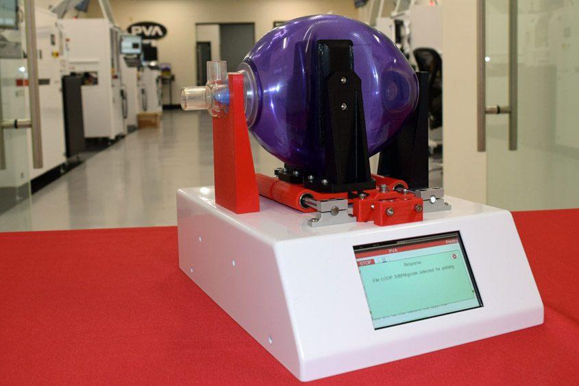 PVA's prototype ventilator is shown.