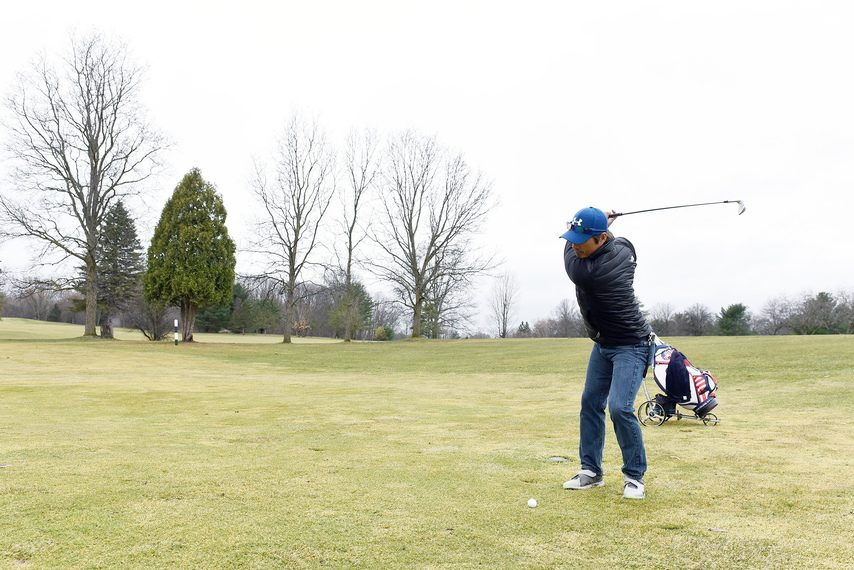Jung Park of Ballston Spa takes a swing at Van Patten Golf Club in Clifton Park on Monday.