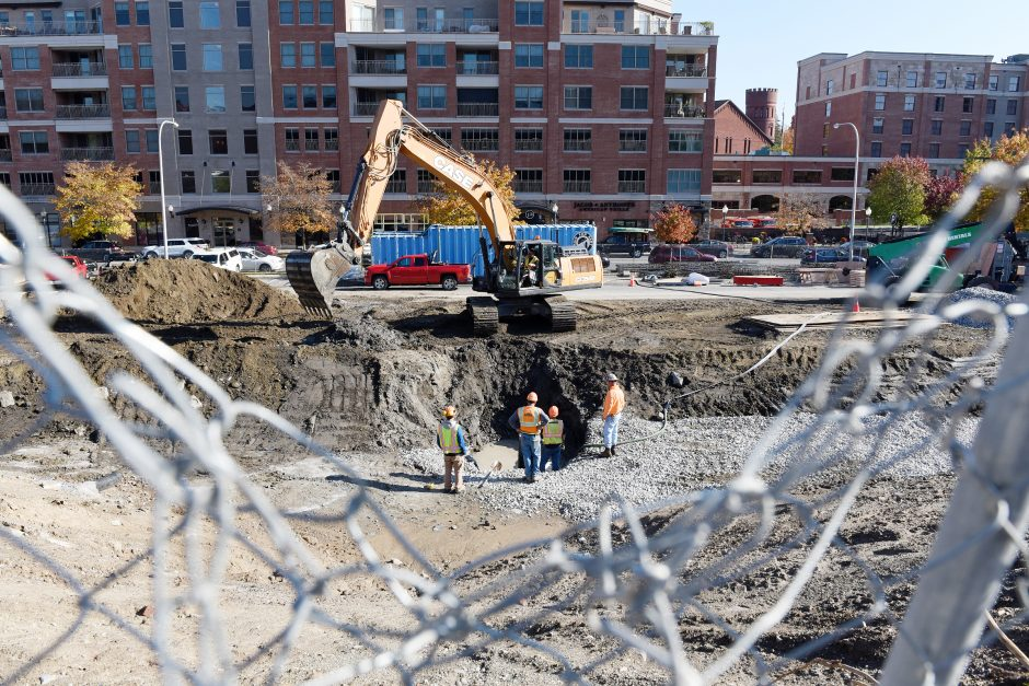 Construction was underway on a $16 million parking garage between Maple and High Rock avenues in Saratoga Springs in October..