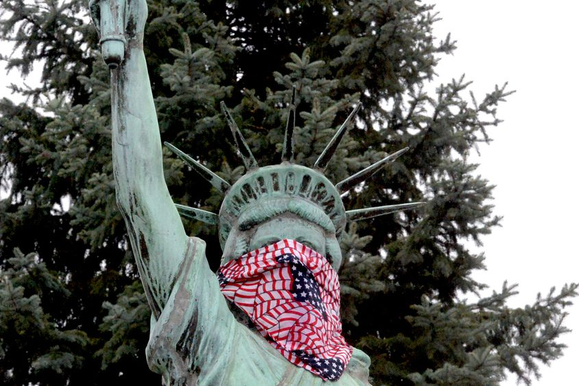 Statue of Liberty located at the corner of Erie Blvd. and Union St. on Tuesday morning.