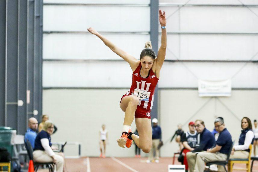 Indiana University senior Leah Moran recently won the Big 10 indoor long jump title.