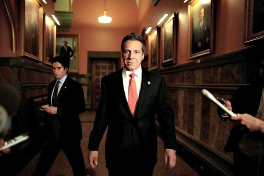 Gov. Andrew Cuomo briefs the media Friday at the state Capitol.