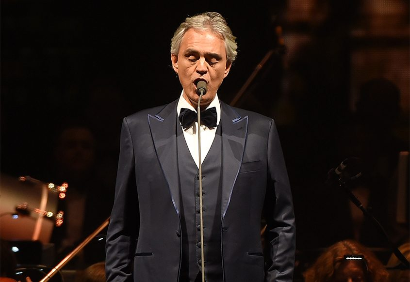 Tenor Andrea Bocelli performs in concert at Madison Square Garden on Dec. 13, 2017, in New York City.