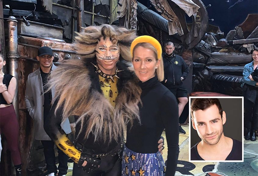 "Zachary Berger with singer Celine Dion after a performance of ""Cats"" in Toronto in January. Inset: A publicity photo of Berger."