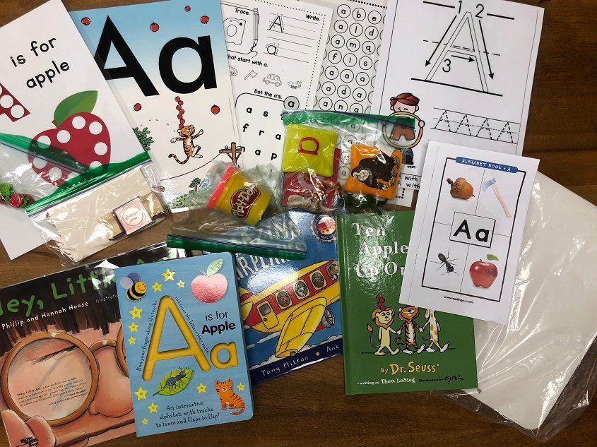 """Contents of """"Alpha Bags,"""" a Craig School program funded by the Niskayuna Community Foundation, are shown."""
