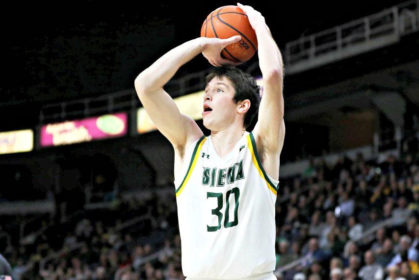 Siena forward Luke Sutherland shoots during a game last season.