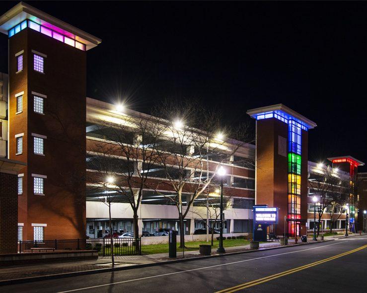 The Broadway parking garage in Schenectady seen in rainbow lights last week