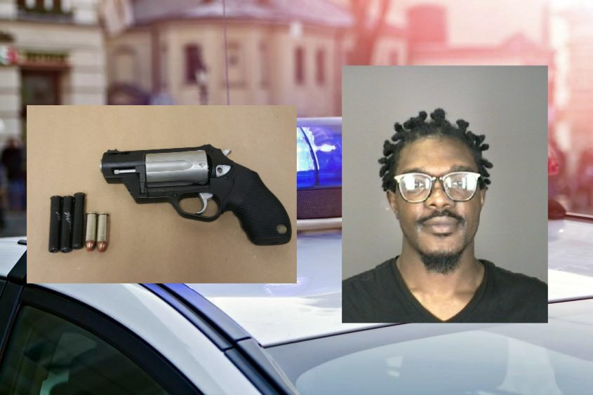 Shaquille Fowler and the gun he is accused of possessing