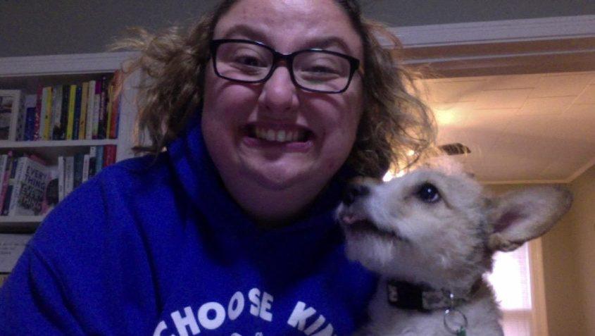 Teacher  Chelsea Izzo and her dog Duke.