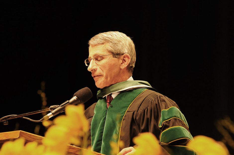Dr. Anthony Fauci, a physician and immunologist, receives an honorary degree from Siena in 2011.