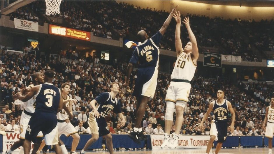 Siena's Matt Gras (50) takes a jumper against Georgia Tech in the 1994 National Invitation Tournament.