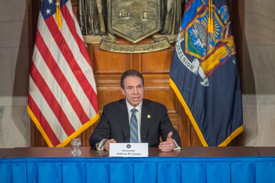 Governor Andrew Cuomo delivers his daily press briefing on COVID-19 at the Capitol April 16, 2020.